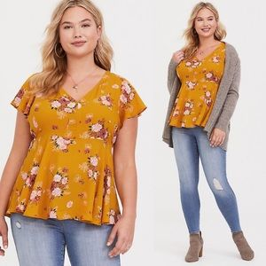 Torrid Yellow Floral Flutter Babydoll Top Plus 1X